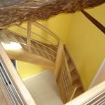 Escalier à noyau - Chêne et inox - 2