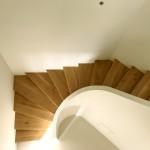 Escalier courbe à l'anglaise et sur crémaillère