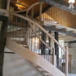 Escalier courbe - Chêne et fer forgé