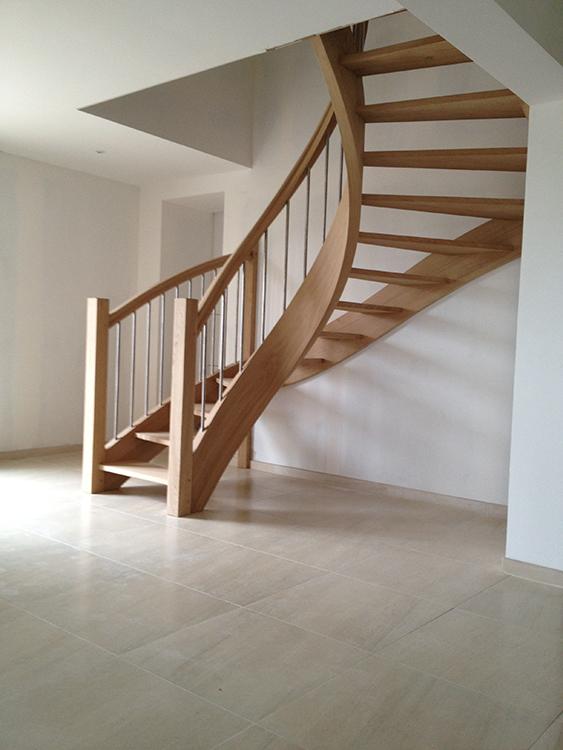Escalier courbe - Chêne et inox - 2