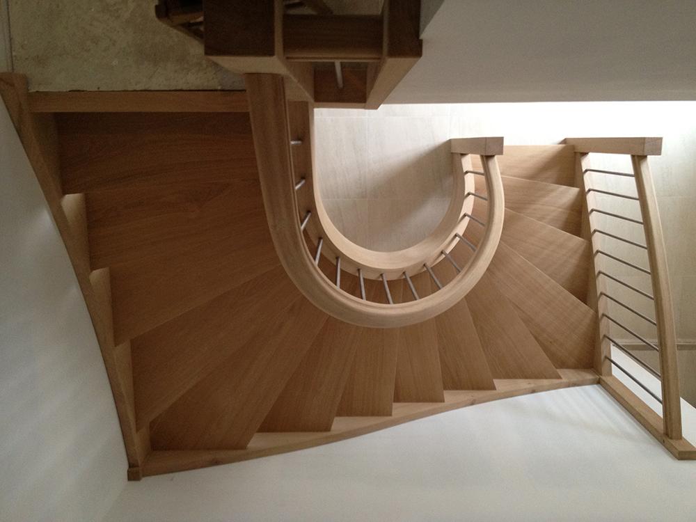 Escalier courbe - Chêne et inox - 3