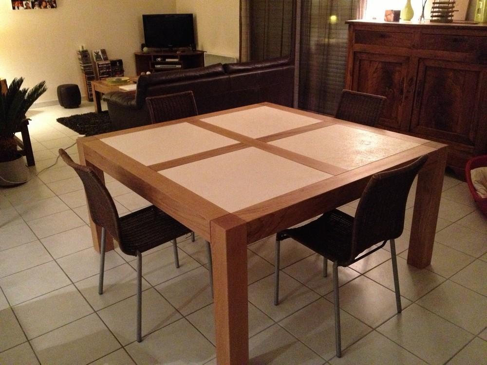 Table de salle à manger chêne et pierre