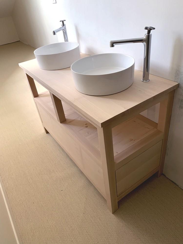 Meuble vasques en hetre avec tiroirs latéraux