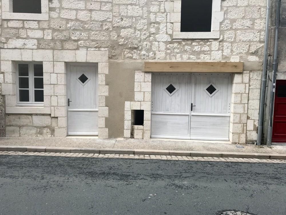 Porte d'entrée et portail avec losanges vitrés