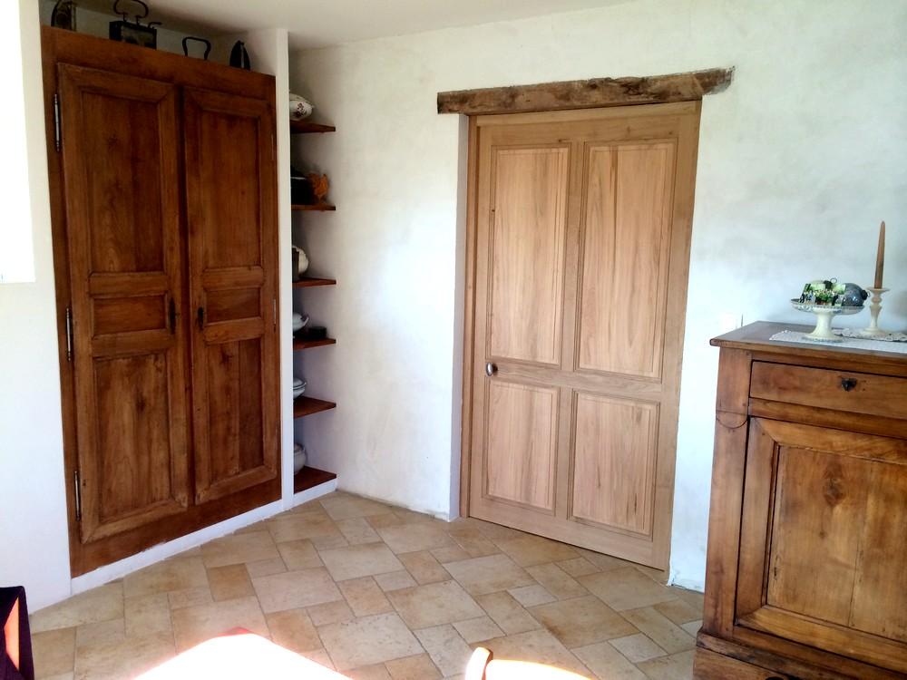 Porte intérieure en chêne et merisier
