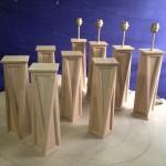 Série de lampes en chêne